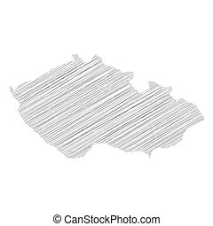 Czech Republic - Pencil scribble sketch silhouette map of country area. Simple flat vector illustration