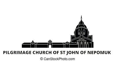 Czech Republic, Pilgrimage Church Of St John Of Nepomuk flat travel skyline set. Czech Republic, Pilgrimage Church Of St John Of Nepomuk black city vector illustration, symbol, travel sights, landmarks.