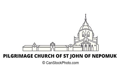 Czech Republic, Pilgrimage Church Of St John Of Nepomuk line travel skyline set. Czech Republic, Pilgrimage Church Of St John Of Nepomuk outline city vector illustration, symbol, travel sights, landmarks.