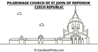 Czech Republic - Pilgrimage Church Of St John Of Nepomuk travel famous landmark skyline, panorama, vector. Czech Republic - Pilgrimage Church Of St John Of Nepomuk linear illustration