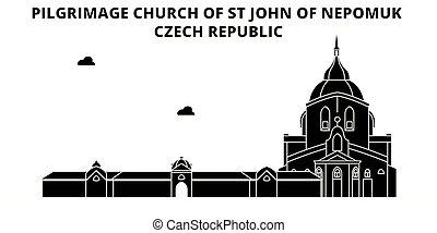 Czech Republic , Pilgrimage Church Of St John Of Nepomuk , travel skyline vector illustration.