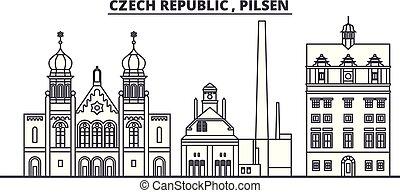 Czech Republic, Pilsen line skyline vector illustration....