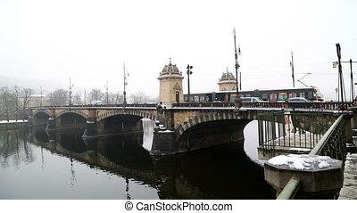 Czech Republic   Prague   Bridge in winter