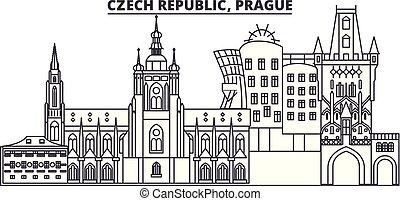 Czech Republic, Prague line skyline vector illustration. czech Republic, Prague linear cityscape with famous landmarks, city sights, vector design landscape.