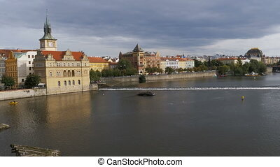 Panoramic view of the architectural buildings of Prague near...
