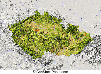 Czech Republic. Shaded relief map with major urban areas. Surrounding territory greyed out. Colored according to vegetation. Includes clip path for the state area.