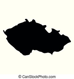 Czech Republic - solid black silhouette map of country area. Simple flat vector illustration