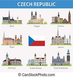 Czech republic. Symbols of cities. Vector set