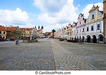 czech republic telc town square - the historic town square...