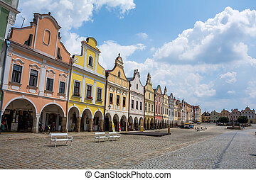 czech republic, telc, town square - the historic town square...
