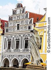 czech republic telc, town square - the historic town square...