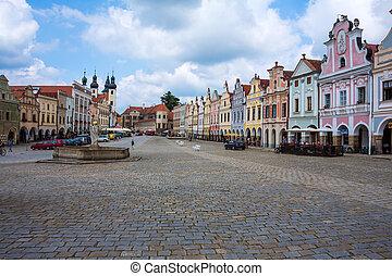 czech republic, telc, town square - the historic town square...