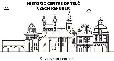 Czech Republic - Telc travel famous landmark skyline, panorama vector. Czech Republic - Telc linear illustration
