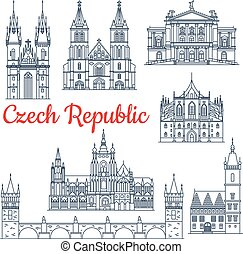 Czech republic thin line travel landmarks - Czech republic...