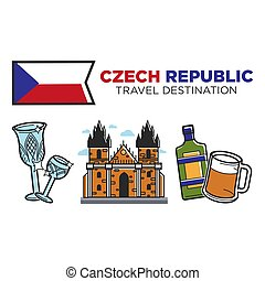 Czech Republic travel destination promotional poster with...
