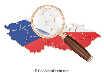 Czech Republic under magnifying glass, analysis concept, 3D rendering
