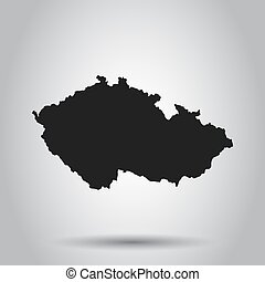 Czech Republic vector map. Black icon on white background.