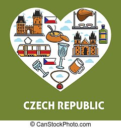 Czech Republic vector poster of sightseeing symbols for travel attraction icons