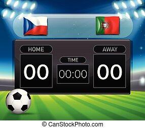 Czech Republic VS Portugal scoreboard illustration