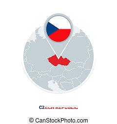 Czech Republicmap and flag, vector map icon with highlighted Czech Republic
