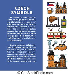 Czech symbols poster with headline and signs vector...