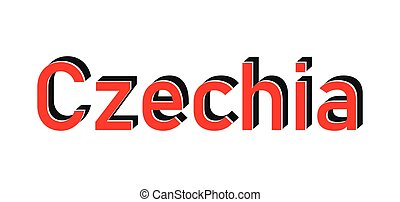Czechia 3d text with shadow vector illustration