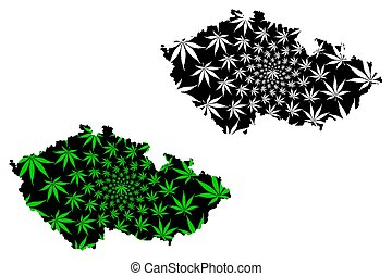 Czechia - map is designed cannabis leaf