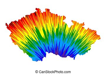 Czechia - map is designed rainbow abstract colorful pattern