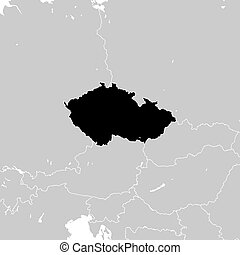 Czechia with neighboring European countries. high detailed vector map - monocrome