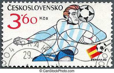 CZECHOSLOVAKIA - 1982: shows soccer player, 1982 FIFA World Cup,