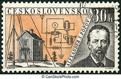 CZECHOSLOVAKIA - CIRCA 1959: A stamp printed in Czechoslovakia shows Alexander S. Popov (1859-1905), Issued to honor inventors in the fields of telegraphy and radio, circa 1959