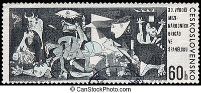 CZECHOSLOVAKIA - CIRCA 1966: A postage stamp printed in the Czechoslovakia shows Guernica painting by Pablo Picasso from Museo Reina Sofia Madrid Spain, circa 1966