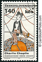 CZECHOSLOVAKIA - CIRCA 1968: A stamp printed in Czechoslovakia shows portrait of Charlie Chaplin (1889-1977), series Cultural personalities of the 20th centenary and UNESCO, circa 1968