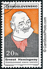 CZECHOSLOVAKIA - CIRCA 1968: A stamp printed in Czechoslovakia shows portrait of Ernest Hemingway (1899-1961), series Cultural personalities of the 20th centenary and UNESCO, circa 1968