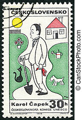 CZECHOSLOVAKIA - CIRCA 1968: A stamp printed in Czechoslovakia shows portrait of Karel Capek (1890-1938), series Cultural personalities of the 20th centenary and UNESCO, circa 1968