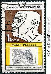 CZECHOSLOVAKIA - CIRCA 1968: A stamp printed in Czechoslovakia shows portrait of Pablo Picasso (1881-1973), series Cultural personalities of the 20th centenary and UNESCO, circa 1968