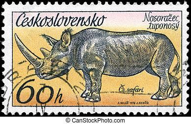 CZECHOSLOVAKIA - CIRCA 1976 Rhinoceros - CZECHOSLOVAKIA - ...