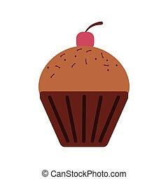 czekolada, ikona, cupcake