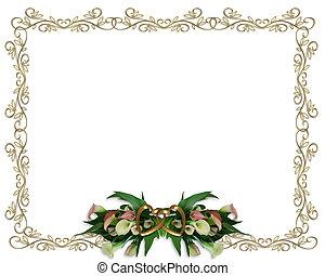 czermień błotne lilie, brzeg, poślubne zaproszenie
