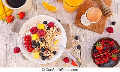 czernica, fruit-, pomarańcza, filiżanka, kawa, sok, muesli, mleczny