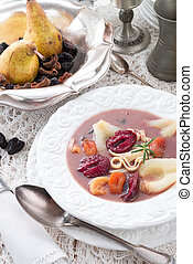 Czernina is a Polish soup made of duck blood and clear...