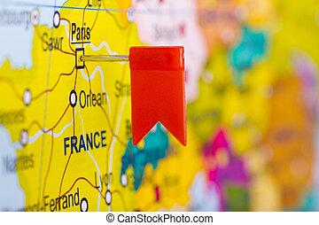 czerwona bandera, na, przedimek określony przed rzeczownikami, mapa, od, europa