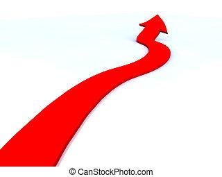 czerwona strzała, powstanie, do góry