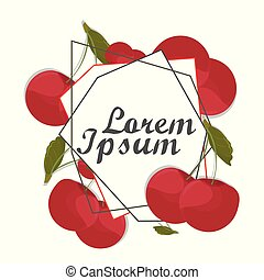 czerwona wiśnia, karta, frame., rytownictwo, rysunek, fruits., rocznik wina, wektor
