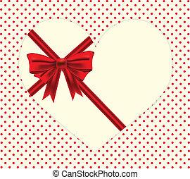 czerwona wstążka, osłona, na, sercowa forma, na, kropka polki