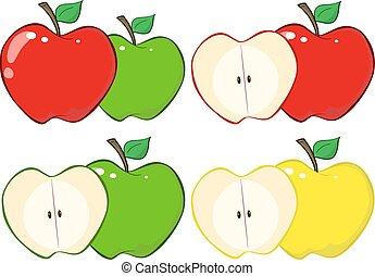 czerwona zieleń, jabłko, zbiór, pół