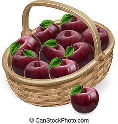 czerwone jabłko, kosz, ilustracja