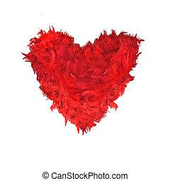 czerwone pierze, sercowa forma