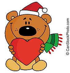 czerwone serce, dzierżawa, niedźwiedź