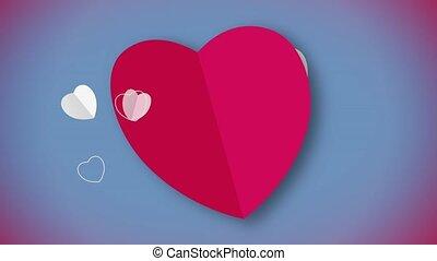 czerwone serce, formułować, karta, ożywienie